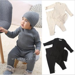 Wholesale thermal long underwear resale online - Kids Designer Clothes Boys Thermal Underwear Suits Girls Knitted Solid Tops Pants Hats Long Sleeve Undershirt Tops Leggings Caps Suits C6725