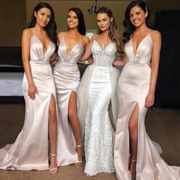 $enCountryForm.capitalKeyWord Australia - Spaghetti Straps Split Blush Pink Mermaid Long Bridesmaid Dresses Sheath Shiny Evening Dresses Wedding Guest Party Gowns BM0357
