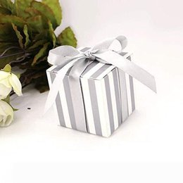 silver wedding confetti NZ - A Silver Stripe Party Wedding Favour Boxes Gift Box for Favours Sweets Confetti Jewelry for Wedding Birthday Baby Shower
