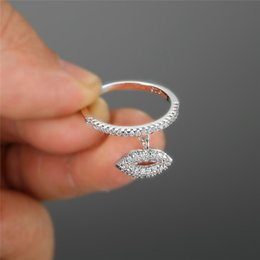 Ring thin band online shopping - RongXing Unique Sexy Mouth Dangle Stacking Thin Ring Band Silver Rose Gold Color White Crystal Wedding Rings For Women Gifts