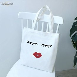 vogue wallets Australia - Cartoon 2020 Pretty And Cute Eye Lashes Red Lips Womens Printing Solid Color Shoulder Canvas Bags Casual Vogue Handbag Wallet Women Bag