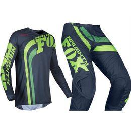 Green Gear Australia - NEW 2019 MX Racing Mens Navy Blue Green 180 Cota Dirt Bike Jersey & Pants Kit Combo Adult Motocross Gear Set MX ATV Dirt Bike