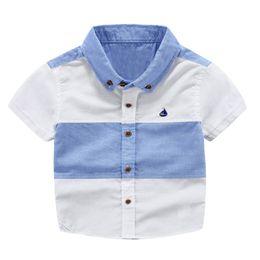 $enCountryForm.capitalKeyWord UK - Boys Shirts Fashion Short Sleeve Patchwork Kids Shirt High-quality Cool baby Tops Children Clothing for Boy