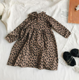 Wholesale full length leopard print dress resale online – 2019 Autumn new Kids leopard grain printed pleated dress girls doll lapel long sleeve princess dress fashion children clothing F10248