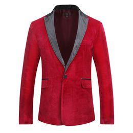 Discount suede blazers - Panelled Suede Mens Designer Blazers Long Sleeve Single Button Solid Blazer Autumn Winter Male Apparel