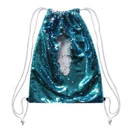 $enCountryForm.capitalKeyWord NZ - sublimation blank backpack Rope Bundle pocket sequins storage bags hot transfer printing consumables 5pcs lot new style
