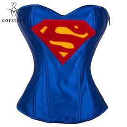 $enCountryForm.capitalKeyWord Australia - Corstory Sexy Superwoman Costume Blue Satin Bustier Waist Trainer Burlesque Gothic Corset Kawaii Steampunk Clothing For Women