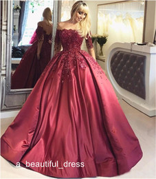 white wine grapes UK - Luxury Burgundy Long Sleeve Prom Dresses Wine Red Beaded Ball Gown Formal Evening Dresses Gowns Lace Up Back Special Occasion Dresses ED1116