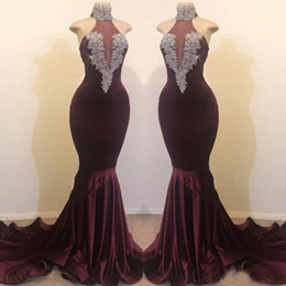 Images Sexy Shirt Dress Australia - Burgundy Prom Dresses Real Images 2019 Sexy High Neck Mermaid 2K19 Party Vestidos Beaded Sequins Long Celebrity Gowns