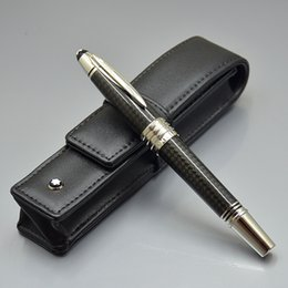 fiber christmas NZ - Luxury Christmas Gift - Top High quality John F. Kennedy Black Carbon fiber Rollerball pen with MB Brand Serial Number and JFK engrave clip