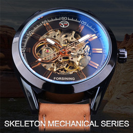 royal brown watches Australia - FORSINING Royal Watches Auto Mechanical Watch Men Top Brand Luxury Brown Leather Strap Skeleton 3D Bolt Pattern Wristwatchess SLZe99