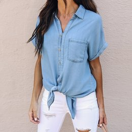 1ac4a6d8489 2018 Summer Top Women s Denim Blouse With Pockets Vintage Short Sleeve  Button Casual Jean Blue Shirt Female Clothes Lady Blusa