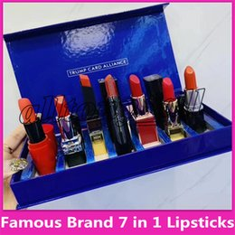 $enCountryForm.capitalKeyWord Australia - Famous brand 7 in 1 Lip Makeup Set trump card alliance Matte Lipstick Luster Retro Lipsticks Frost Sexy Lip MakeUp set