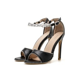 4277250b9a93a Woman Sandals Women Shoes Rivet Chains Thong Gladiator Thin High Heels  Sandals Open Toed Ankle Strap Pumps Fashion Party Sandals