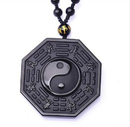 bagua necklace Australia - hand knitting Black Obsidian Necklace Pendant Chinese BAGUA Men's Jewelry Women's