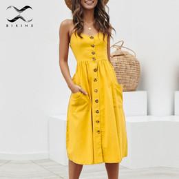 d63b9f6b76 Spaghetti Strap beach cover up online shopping - Bikinx Elegant casual  buttons women beach dress Spaghetti