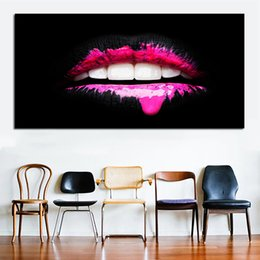 Art Canvas Prints Australia - 1 Piece Big Size Decorative Pictures For Living Room Sexy Mouth Wall Art Canvas Print Posters Modern Decorative Painting No Frame
