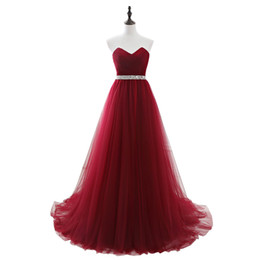 $enCountryForm.capitalKeyWord UK - 2019 Real Pic Red Strapless A-line Evening Dress Sleeveless Pleated Waist Beaded Floor Length Prom Party Gown