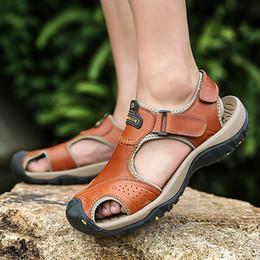 Brown Leather Clogs Australia - Men's Sandals Genuine Leather Clogs Plus Size 45-47 Zipper Sewing Beach Sandals Male Fashion Cozy Casual Brown Shoes For Men