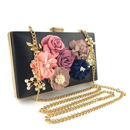 Ladies Evening Handbags Australia - Women's Bag Flower Clutches Evening Bags Lady Handbags Wedding Clutch Purse Small Square Pack Shoulder Messenger Bags