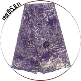 african fabric wholesalers UK - Best Selling Beaded Net Nigeria Lace Material 2019 Royal Blue Purple French African Lace Fabric Party Cord Lace Fabric For Dress