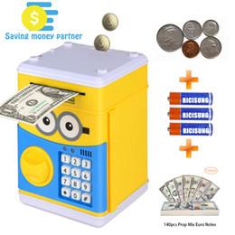 Großhandel Beste Cartoon Electronic Piggy Bank, Geldautomaten Geld Bank Cash Münze Kann Auto Scroll Papier Geld für Kinder Weihnachtsgeschenk