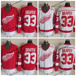 detroit red wing jerseys 2020 - Mens Detroit Red Wings #33 Kris Draper Jersey Vintage Home Red White Kris Draper Stitched Hockey Jerseys Cheap M-XXXL di