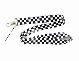 $enCountryForm.capitalKeyWord UK - 50PCS Black & White Grid key lanyards id badge holder keychain straps for mobile phone Free Shipping