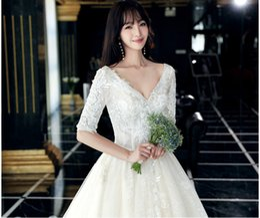 Slim Modern Wedding Dresses Australia - Wedding dress 2019 new bride simple Pregnant women can wear Large size Slim wedding dress trailing lace long trailing beach