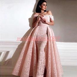 Discount arabic kaftan dress blue - Sexy Dubai Lace Sheath Evening Dress Prom With Detachable Skirt Off Shoulder Islamic Kaftan Saudi Arabic Pageant Party G