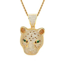 $enCountryForm.capitalKeyWord UK - Leopard Head Pendant Necklace Gold Plated Copper Inlaid Cubic Zirconia Pendant 60cm Stainless Steel Chain Mens Accessories