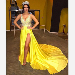 Nude Long Dresses For Prom Australia - Gorgeous Prom Dresses For Women Crystal Beads 2019 Plunging Neck Side Split Long Chapel Train Evening Dress Gown