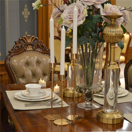 home bar decor NZ - 3Pcs Set Gold Brass Metal Candle Holders Simple Golden Wedding Decoration Bar Party Living Room Decor Home Decor Candlestick