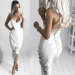 mid white cocktail dress 2019 - 2019 White Lace Pencil Dresses Hot Sell Bodycon Spaghetti Straps Sexy V Neck Midi Slim Women Party Tassel Cocktail Dress
