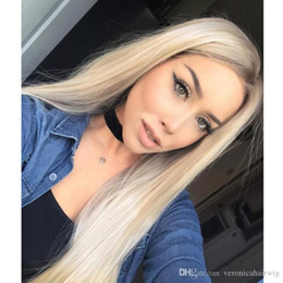 Brown Straight Wig Part Australia - Fashion Long blonde Lace Wig with brown root Glueless Long silky straight Middle Part Synthetic Lace Front Wigs For Women Half Hand Tied