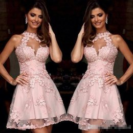 $enCountryForm.capitalKeyWord NZ - 2019 Charming Cocktail Evening Dresses Illusion High Neck Blush Pink Lace Homecoming Dresses Sheer Neck Short Prom Party Gowns Sleeveless