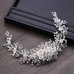 $enCountryForm.capitalKeyWord Australia - Bridal Tiaras Pearl Hair Comb Crystal Headpiece Head Jewelry Women Hair Ornaments Rhinestone Wedding Headbands