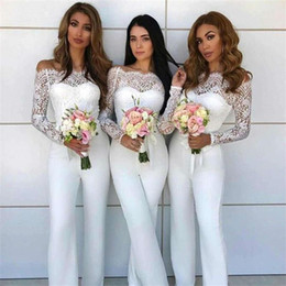 $enCountryForm.capitalKeyWord NZ - Elegant Off Shoulder Bridesmaid Dresses Lace Long Sleeve Women Jumpsuits Custom Made Cheap Prom Dresses Wedding Guest Dress