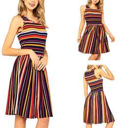 $enCountryForm.capitalKeyWord Australia - Women 2019 summer rainbow stripe Beach Dress for holiday lady sleeveless print dress in stock