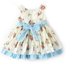 ad68668f452a Exquisite Girl Kids Designer Clothing New Summer O-neck Flower Print  sleeveless Design high quality 100%cotton baby kids Princess dress