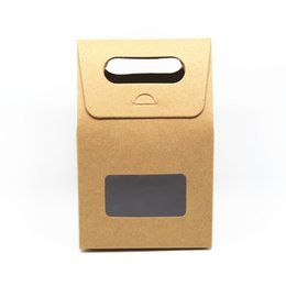 Pack Supplies Australia - 20Pcs Kraft Paper with Clear Window Handle Packaging Boxes Wedding Birthday Party Carton Paper Packing Box for Event Supplies free shipping