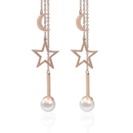 $enCountryForm.capitalKeyWord UK - Fashion creative tassel earrings female titanium steel stars moon pearl long earrings