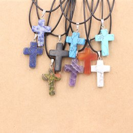 $enCountryForm.capitalKeyWord Australia - Ten colors hot sell natural stone mixed color assorted quartz crystal cross pendants Charms fit Necklaces jewelry making
