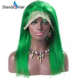 $enCountryForm.capitalKeyWord UK - Silanda Hair Nice Fashion Green Colored Silky Straight Brazilian Remy Lace Front Full Lace Human Hair Wigs Free Shipping