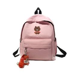 Cute Korean Style Backpacks Australia - Korean Style Girls Backpack Cute Canvas Schoolbag Preppy Cartoon Women Travel Bag Students Teenagers Pack Knapsack