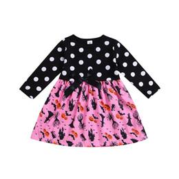 Clothes themes online shopping - Baby Girls Printed Dress Infant Girl Halloween Long Sleeve Pumpkin Devil Dress Halloween Theme Designer Clothing Dress Dot Bow Tie Skirt