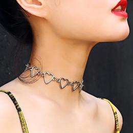 5a6b040ca79e Hueco Corazón Gargantilla Collar Plata Oro Forma de corazón Collar Cadena  Joyería Moda Mujer Will y Sandy Drop Ship