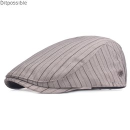 cotton berets for women Australia - Ditpossible new cotton spring casquette caps for men vintage striped flat cap beret hats women gorras