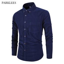 Navy Blue Slim Shirt Australia - Navy Blue Cotton Corduroy Shirt Men Vintage Soft Casual Slim Fit Mens Solid Dress Shirts 2019 Spring Autumn Harajuku Male Blouse
