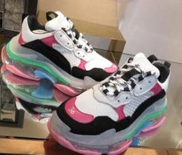 $enCountryForm.capitalKeyWord Australia - Paris 2019 Crystal Bottom Triple-S Leisure Shoes Dad Shoes Platform Triple S Sneakers for Men Women Vintage Kanye Old Grandpa Trainer